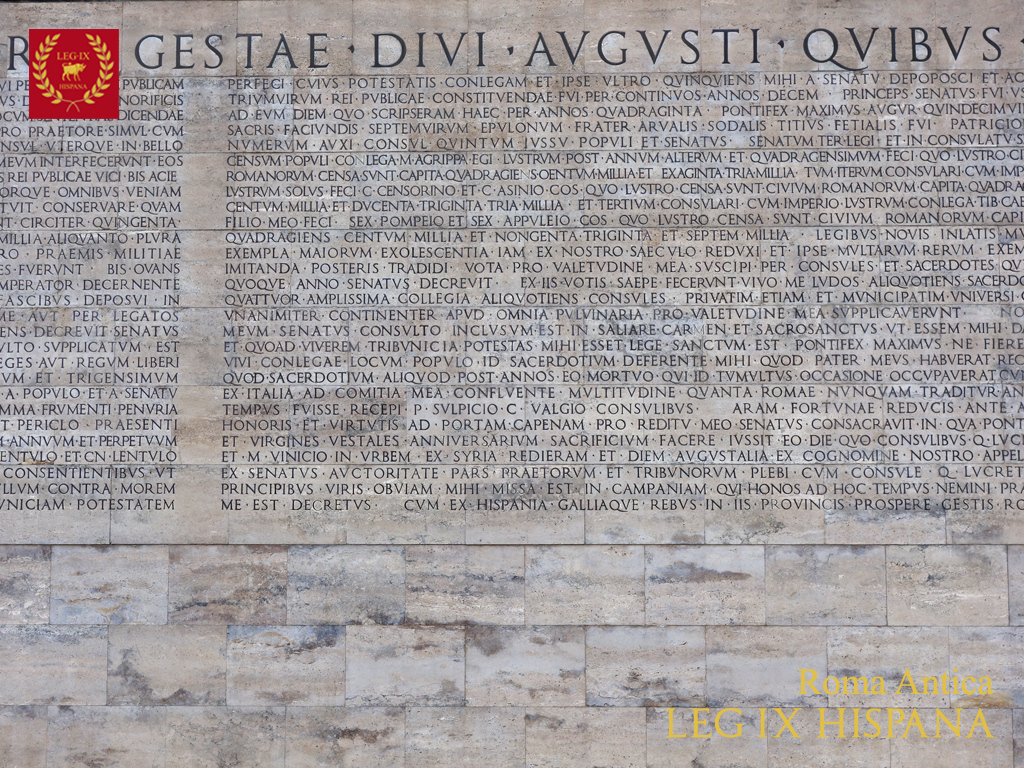 Ara pacis augustae legi n novena hispana - Res gestae divi augusti ...